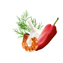 Knoblauch, Paprika Dillspitzen und ein gegrillter Shrimp