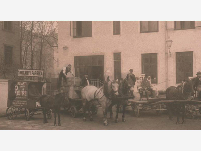 Crno-bela fotografija: isporuke začinske paprike konjskom zapregom 1881. godine
