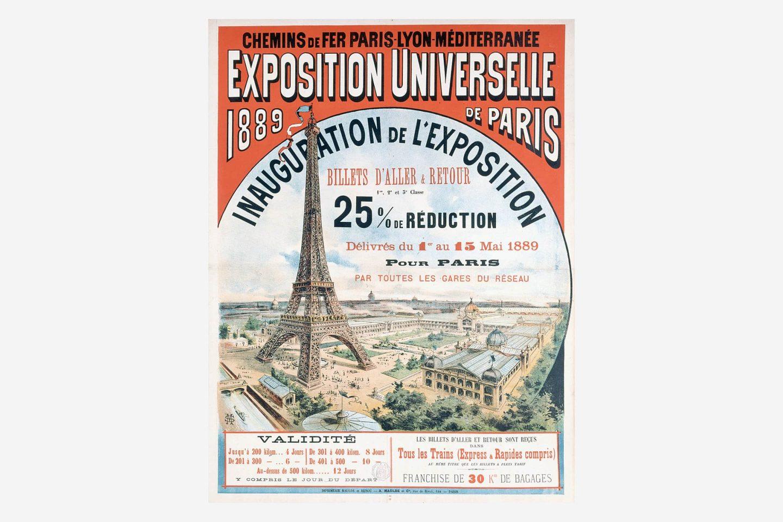 Plakat pariske izložbe 1889. godine sa crtežom Ajfelovog tornja.