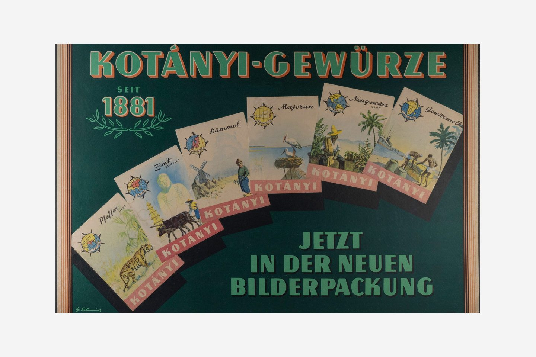 Reklamni poster kompanije Kotányi za ilustrovane kesice iz 1970. godine