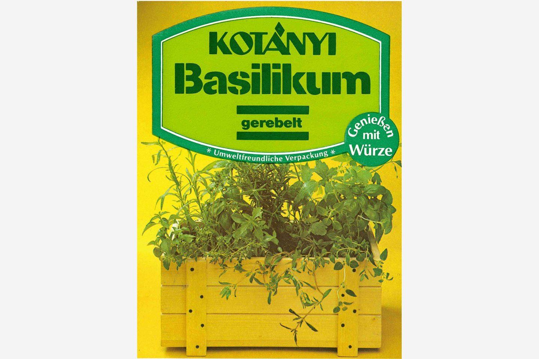 Ekološki prihvatljivo pakovanje Kotányi bosiljka iz 80-ih godina XX veka.
