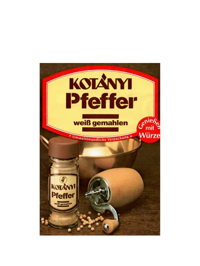 Kesica Kotányi belog bibera iz 80-ih godina XX veka.