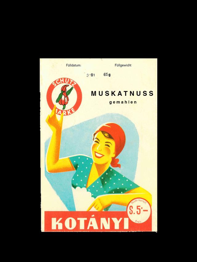 Kesica Kotányi muskatnog oraščića iz 50-ih godina XX veka.
